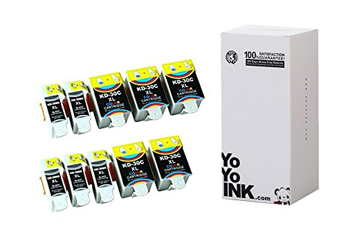 Compatible Kodak 30B/30C XL High Yield Ink Cartridges: 5 Black & 5 Color (10 Pack)