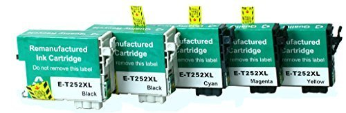 Remanufactured Epson 252 XL High Yield Ink Cartridges: 2 Black