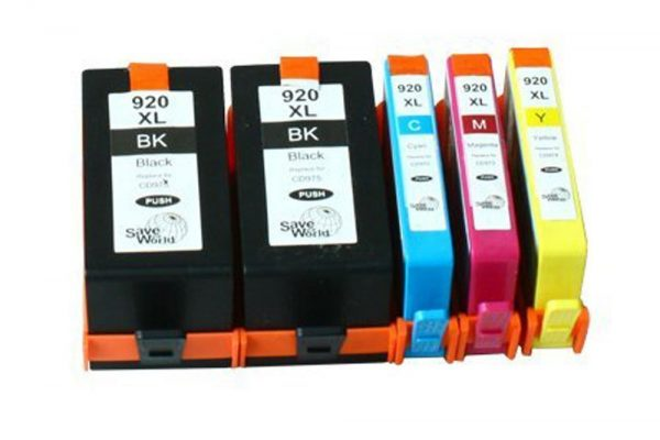 Remanufactured Hewlett Packard (HP 920XL) High Yield Ink Cartridges: 2 Black