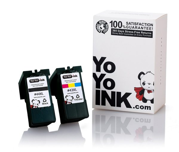 Remanufactured Lexmark 44XL 18Y0144 Black & 43XL 18Y0143 Tri-Color High Yield Ink Cartridge (1 Black