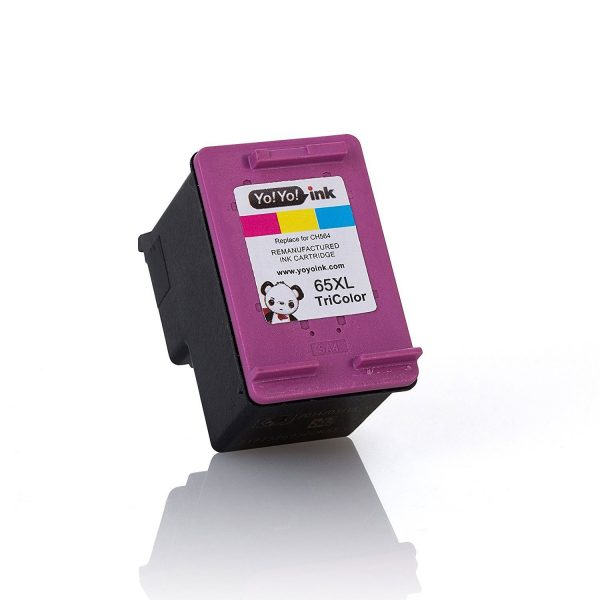 Hewlett Packard (HP 65XL Combo) N9K04AN Black & N9K03AN Tri-Color (High Yield) Replacement Ink Cartridge (2 Black