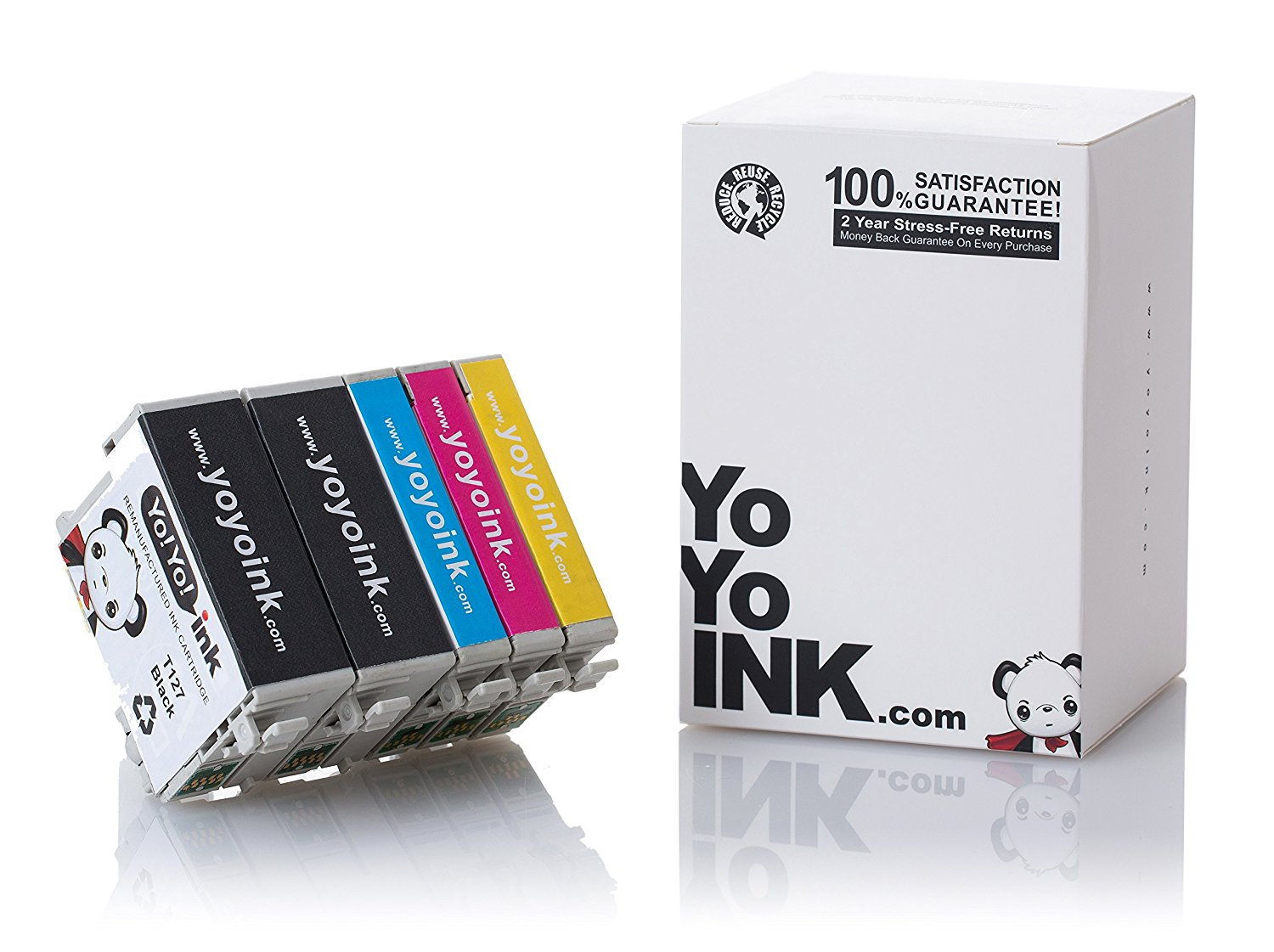 Remanufactured Epson 127 XL High Yield Ink Cartridges: 2 Black