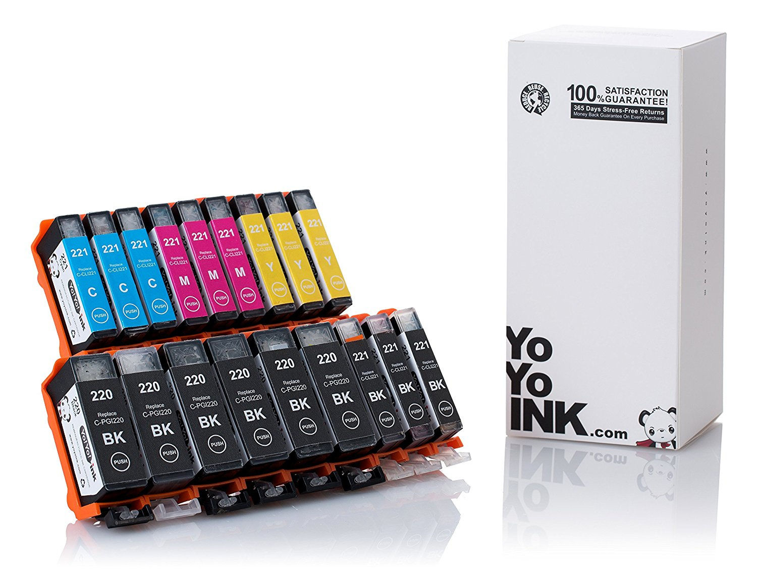 Compatible Canon PGI-220 / CLI-221 XL High Yield Ink Cartridges: 6 Big Black