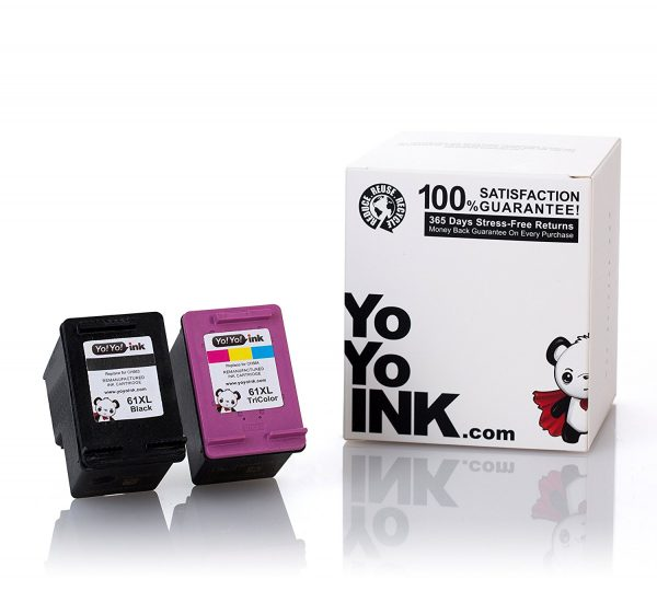 Remanufactured Hewlett Packard (HP 61XL Combo) CH563WN Black & CH564WN Tri-Color High Yield Ink Cartridge (1 Black