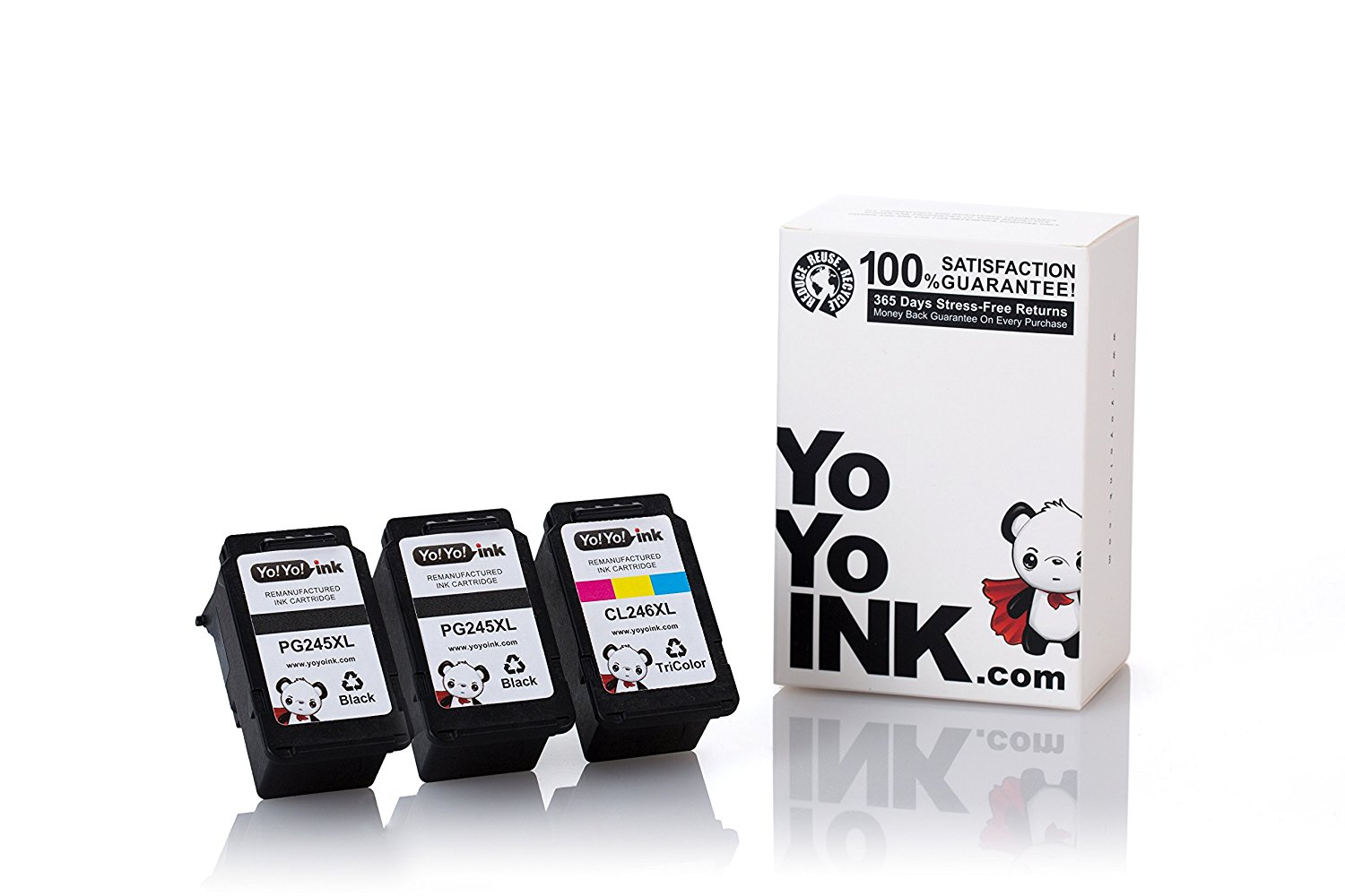 Remanufactured Canon PG-245XL Black & CL-246XL Tri-Color High Yield Ink Cartridge (2 Black