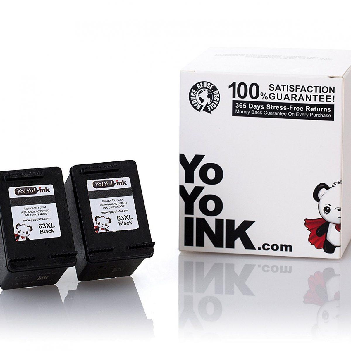 Remanufactured Hewlett Packard (HP 63XL) F6U64AN Black High Yield Ink Cartridge (2 Black)