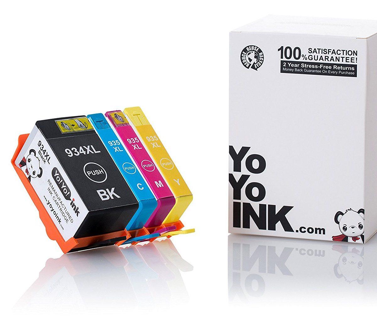 Remanufactured Hewlett Packard (HP 934 XL / 935XL) High Yield Ink Cartridges: 1 Black
