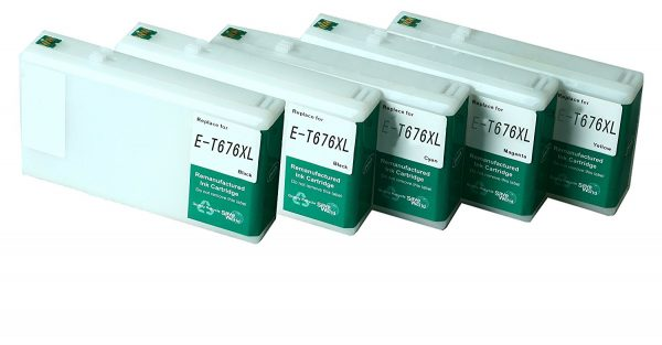Remanufactured Epson 676 XL High Yield Ink Cartridges: 2 Black