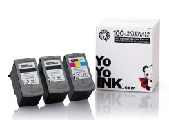 Remanufactured Canon PG-40 Black & CL-41 Tri-Color Ink Cartridge (2 Black