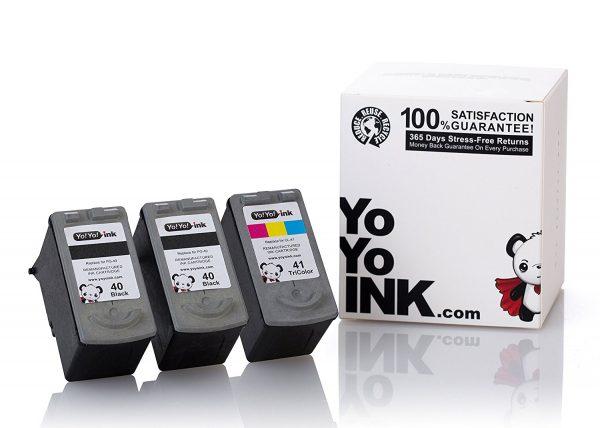 Remanufactured Canon PG-40 Black & CL-41 Tri-Color Ink Cartridge (2 Black