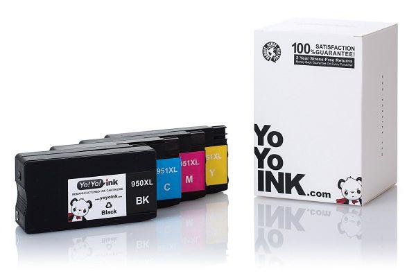 Remanufactured Hewlett Packard (HP 950XL / 951XL) High Yield Ink Cartridges: 2 Black