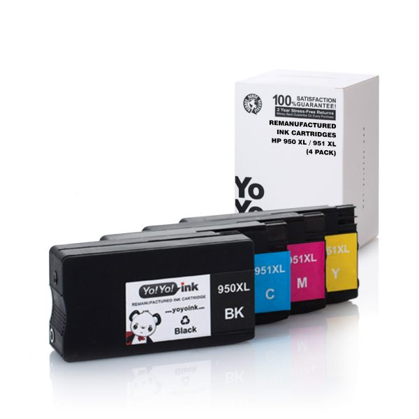 Remanufactured HP 950XL & 951XL Ink Cartridges High Yield Combo Pack – 4 Packs