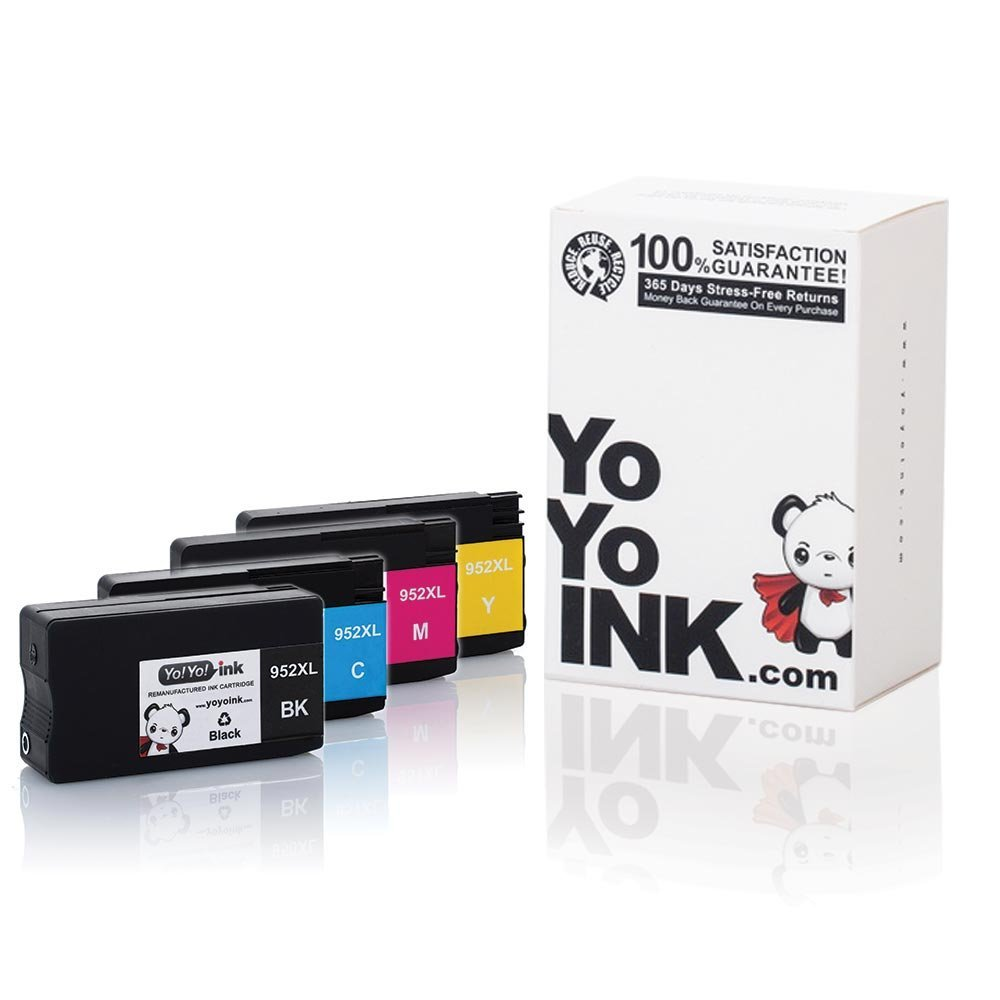 Remanufactured Hewlett Packard (HP 952XL) High Yield Ink Cartridges: 1 Black