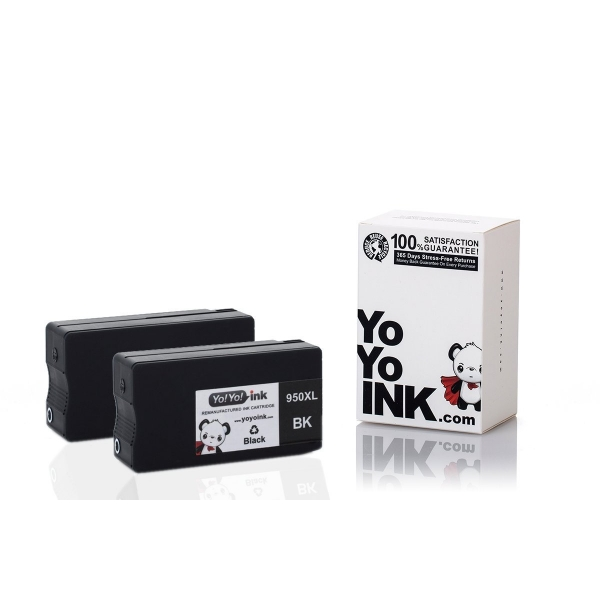 Remanufactured Hewlett Packard (HP 950XL) Black High Yield Ink Cartridges (2 Black)