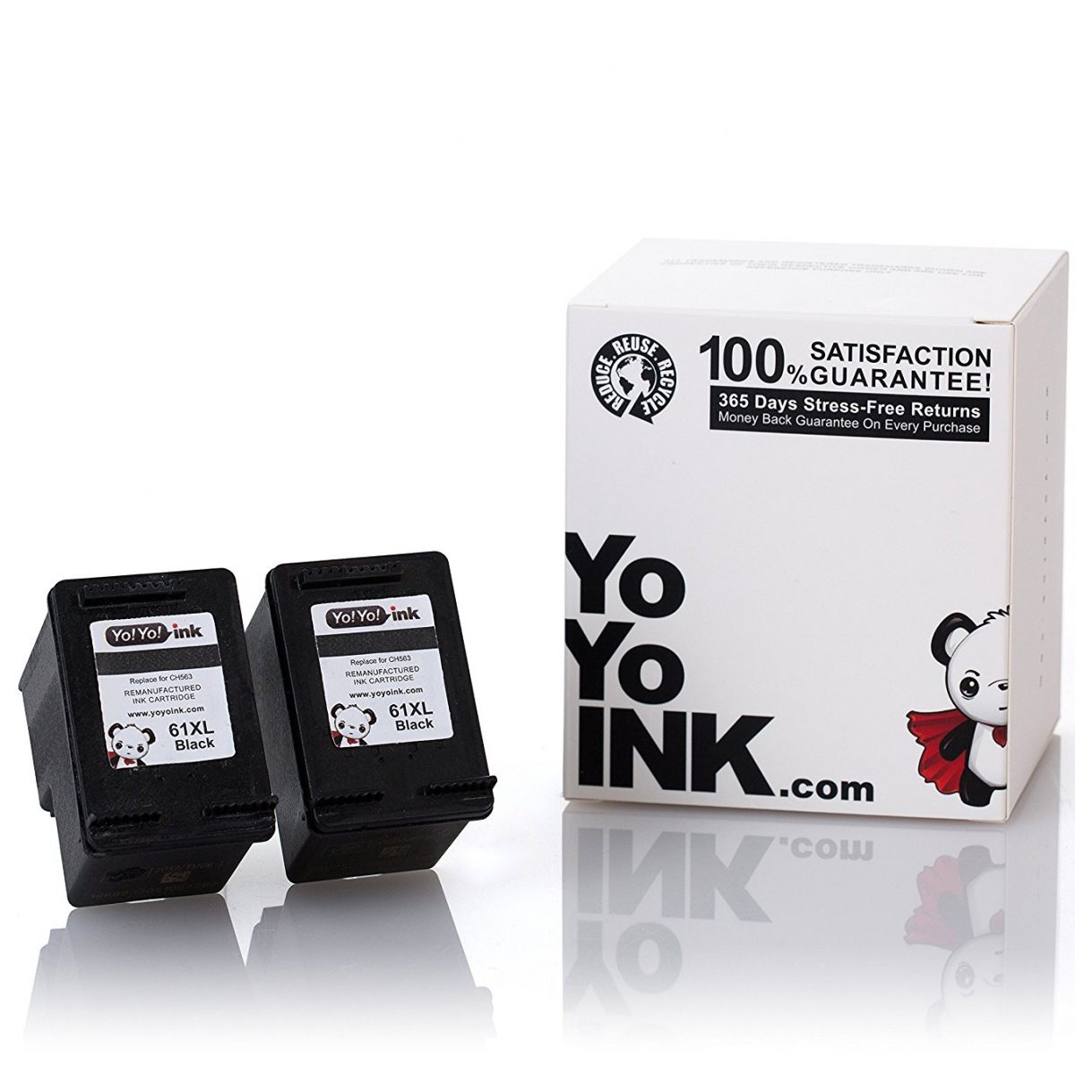 Remanufactured Hewlett Packard (HP 61XL) CH563WN Black High Yield Ink Cartridge (2 Black)