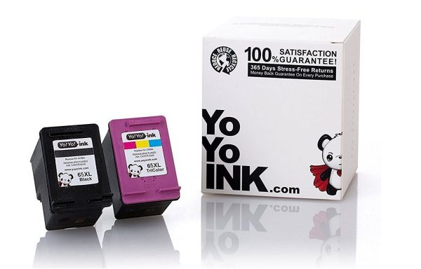 YoYoInk 2 Pack Remanufactured Ink Cartridge Replacement for HP 65 65XL (1 Black