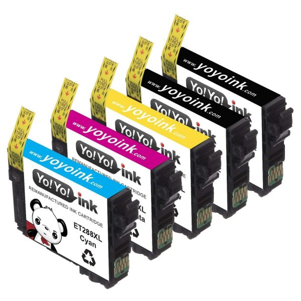YoYoInk 5-Pack Remanufactured Ink Cartridge Replacement Epson T288XL 288 XL (2 Black