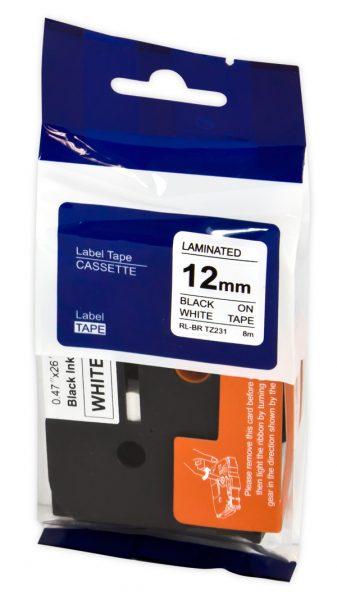 Brother Label Cassette TZE231 Black on White Tape 12MMx8M