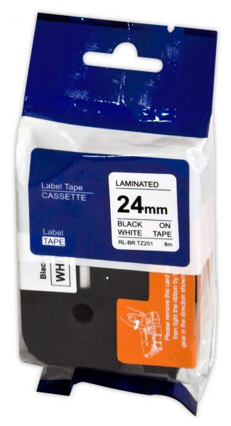 Brother Label Cassette TZE251 Black on White Tape 24MMx8M